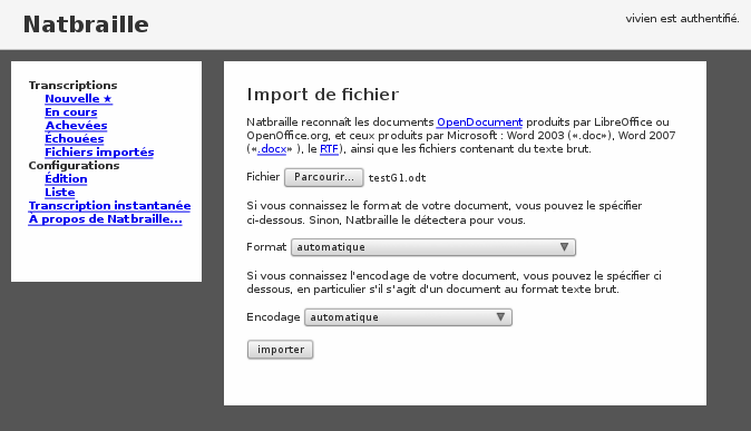 copie d'écran de la version serveur : import de fichier